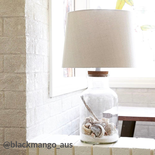 Fillable Glass Jar Table Lamp With Oatmeal Shade Large