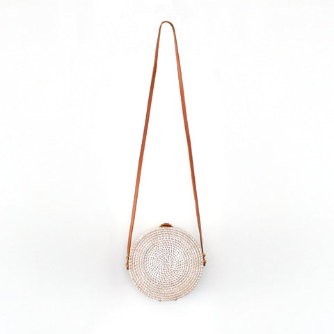 Marley Rattan Bag 20cm Round White Wash - Black Mango