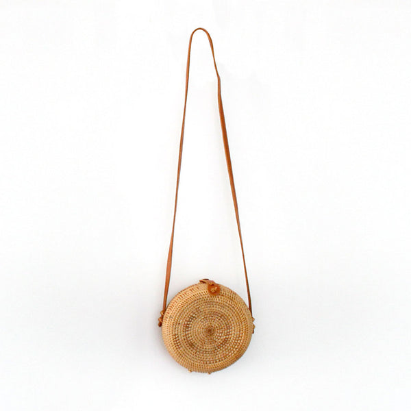 Marley Rattan Bag 20cm Rounded Natural - Black Mango