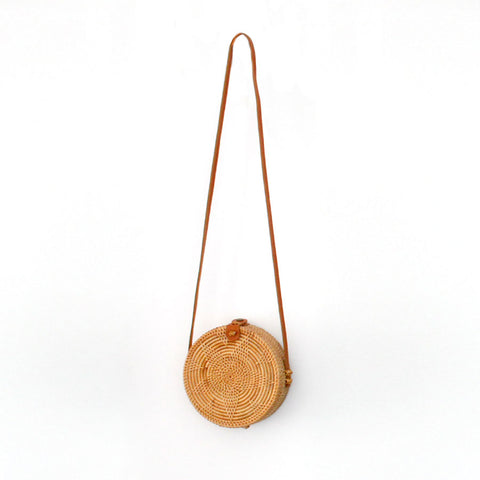 Marley Rattan Bag 20cm Round Star Natural - Black Mango