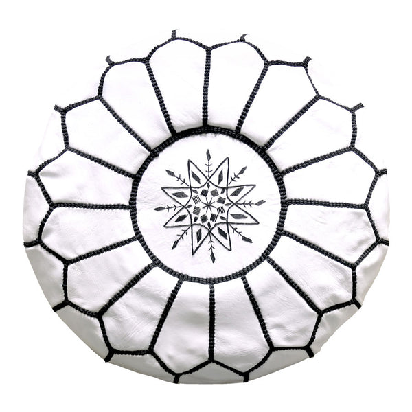 Moroccan Leather Ottoman/Pouffe Cover White with Black Stitching