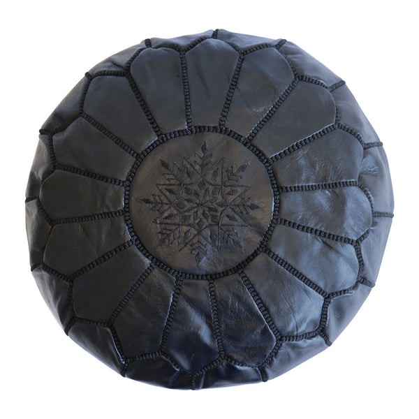 Moroccan Leather Ottoman/Pouffe Cover Black