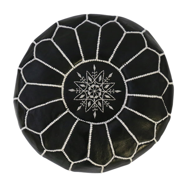 Moroccan Leather Ottoman/Pouffe Cover Black with White Stitching - Black Mango