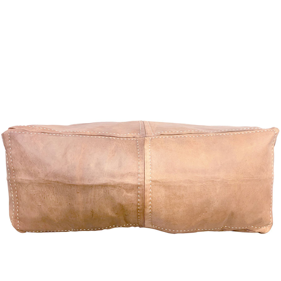 Moroccan Leather Rectangle Ottoman/Pouffe Cover