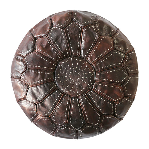 Moroccan Leather Ottoman/Pouffe Cover Chocolate