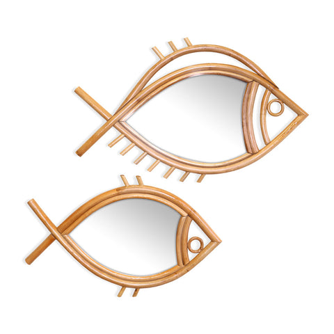 Marley Rattan Fish Mirror | Set of 2