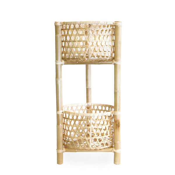 Marley Rattan & Bamboo 2 Tier Plant Stand