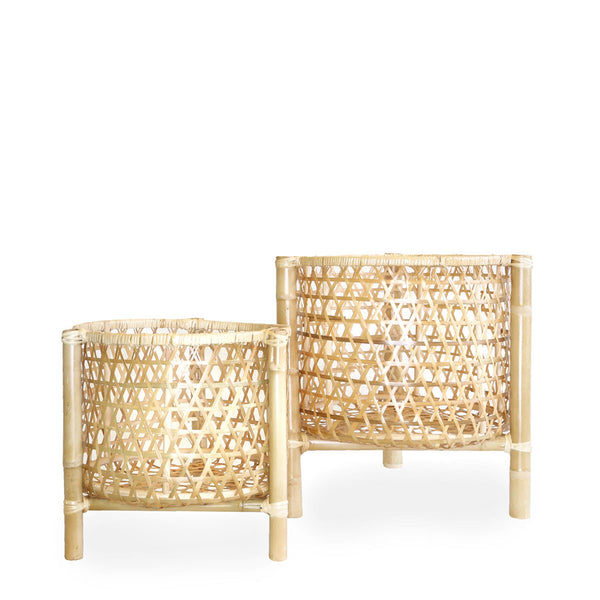 Marley Rattan & Bamboo Plant Stand | Set of 2