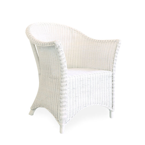 Madison Rattan Arm Chair White