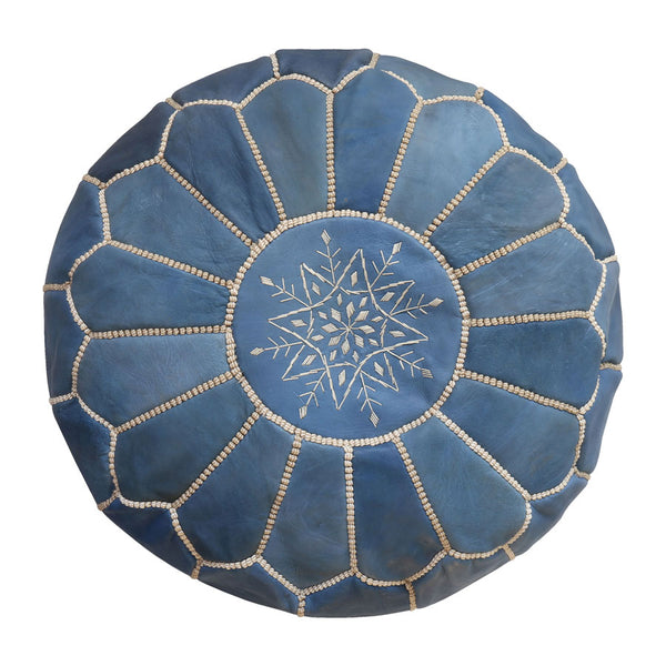 Moroccan Leather Ottoman/Pouffe Cover Blue