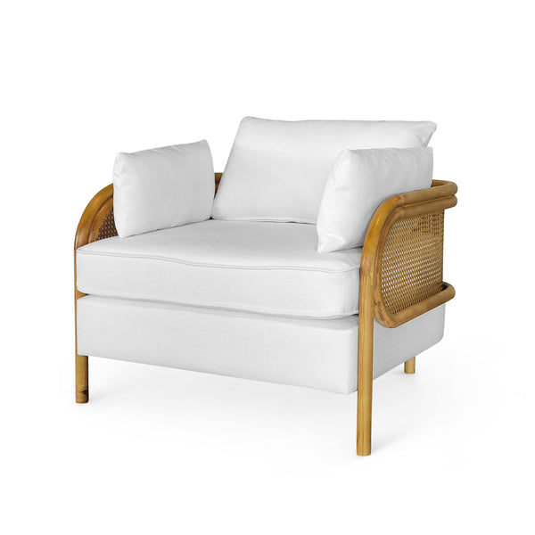 Malibu Upholstered and Rattan Club Chair White