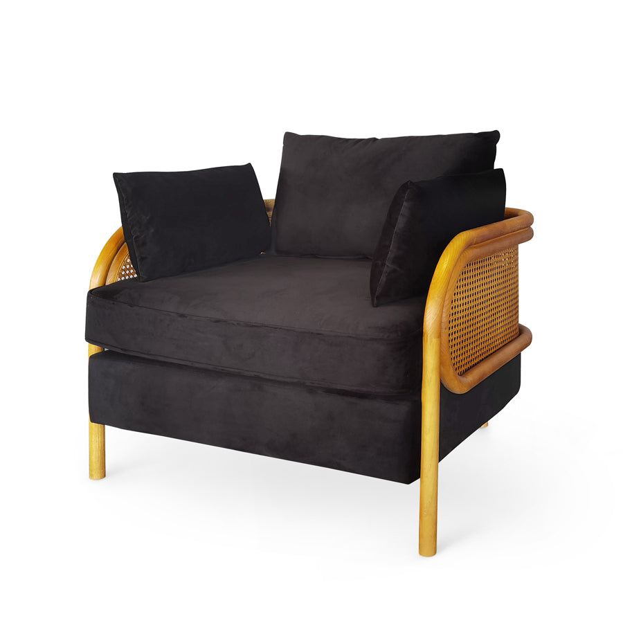 Malibu Upholstered and Rattan Club Chair Black