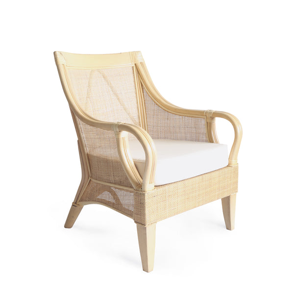 Tamia Square Weave Rattan Lounge Chair Natural