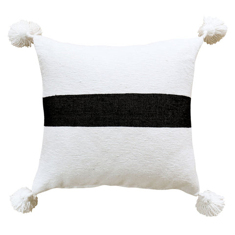 Moroccan Pom Pom Cushion Cover White & Black 50cm