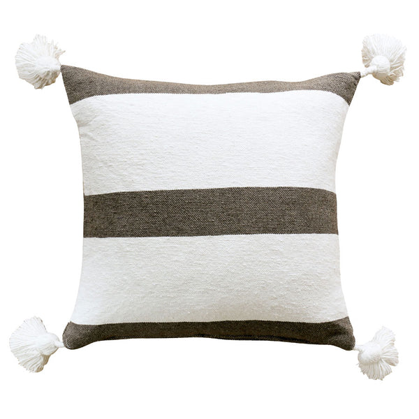 Moroccan Pom Pom Cushion Cover Neutral Stripes 50cm