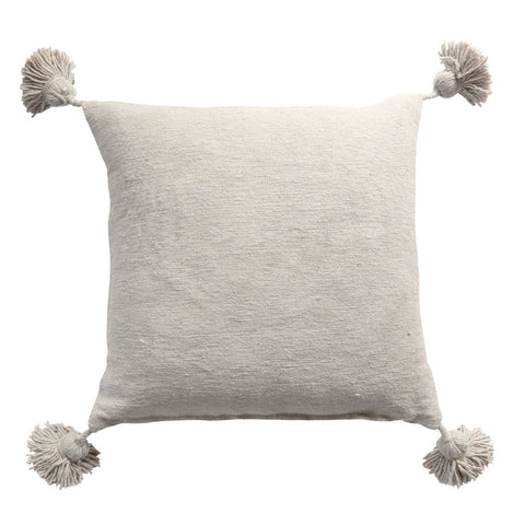Moroccan Pom Pom Cushion Cover Grey 50cm
