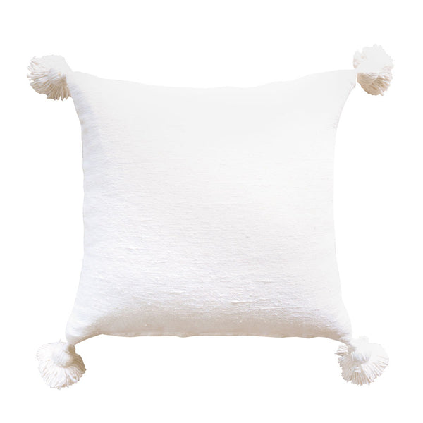 Moroccan Pom Pom Cushion Cover White 50cm