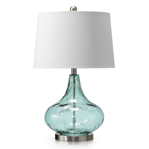 Dew Drop Glass Table Lamp Misty Aqua Blue - Black Mango