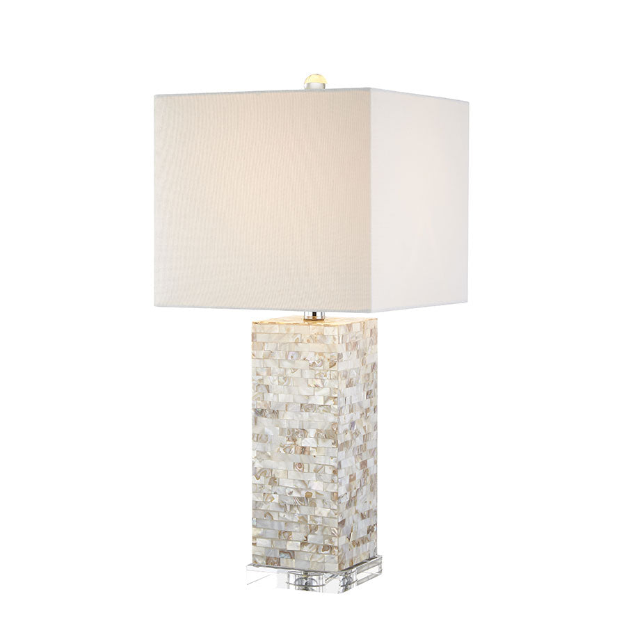 Mother of Pearl Square Table Lamp - Black Mango