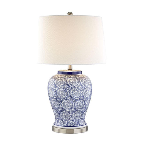 Tessa Blue & White Swirl Table Lamp - Black Mango