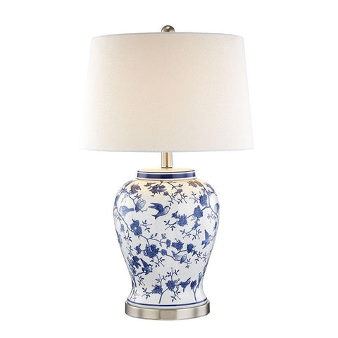 Tessa Blue & White Bird Table Lamp - Black Mango