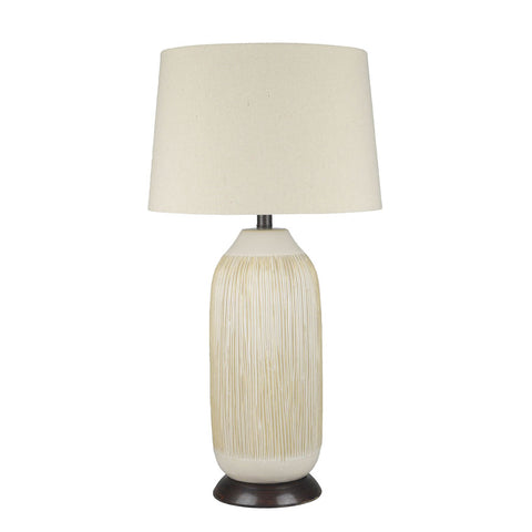 Margo Tall Cream/Brown Ceramic Table Lamp - Black Mango