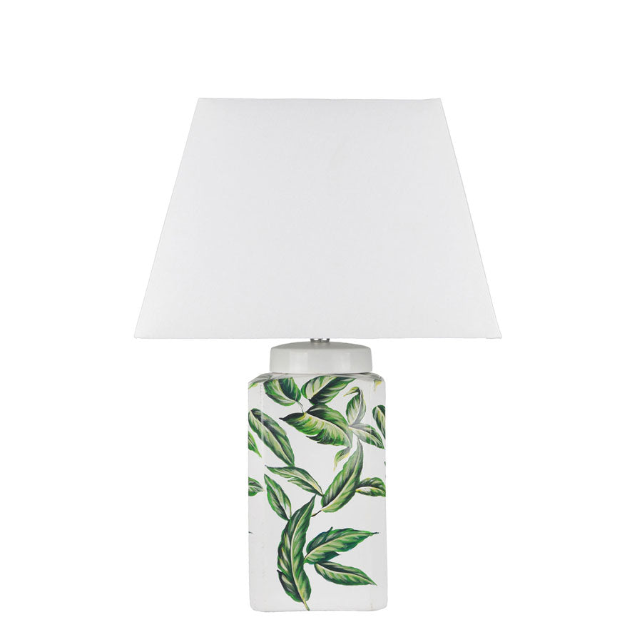 Eden Leaf Ceramic Table Lamp - Black Mango