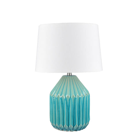 Nori Blue Glaze Ceramic Table Lamp - Black Mango