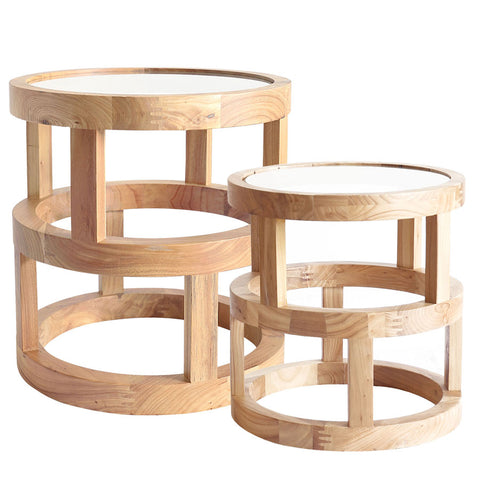 Arlo Side Table Elm Wood Set of 2 - Black Mango