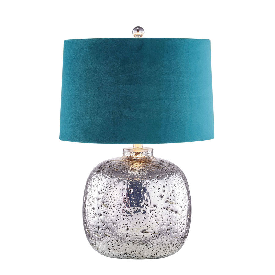 Molten Silver Glass Table Lamp with Velour Shade