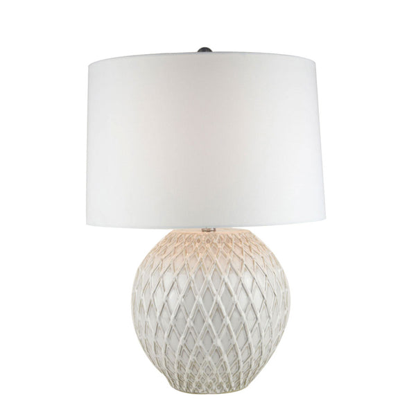 Diamond Thatch Cream Ceramic Table Lamp