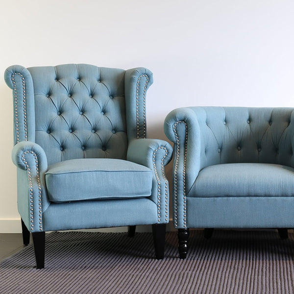 Royale Wingback Arm Chair Teal Black Mango