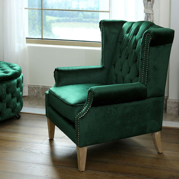 Royale Wingback Arm Chair Emerald Black Mango
