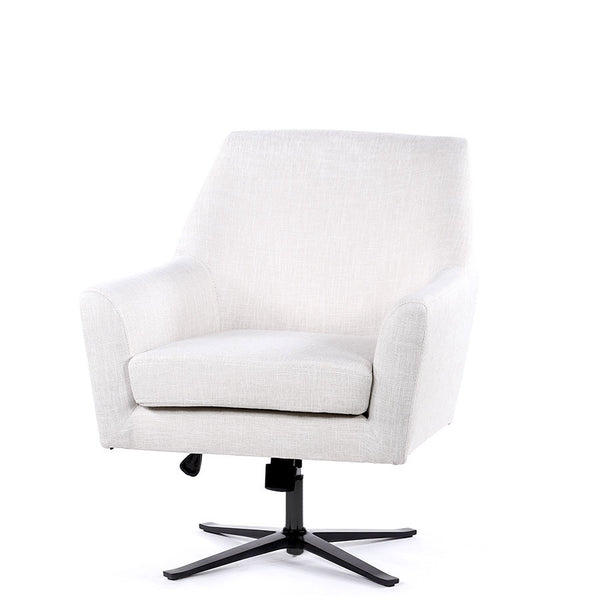 Ava Swivel Chair Linen White - Black Mango