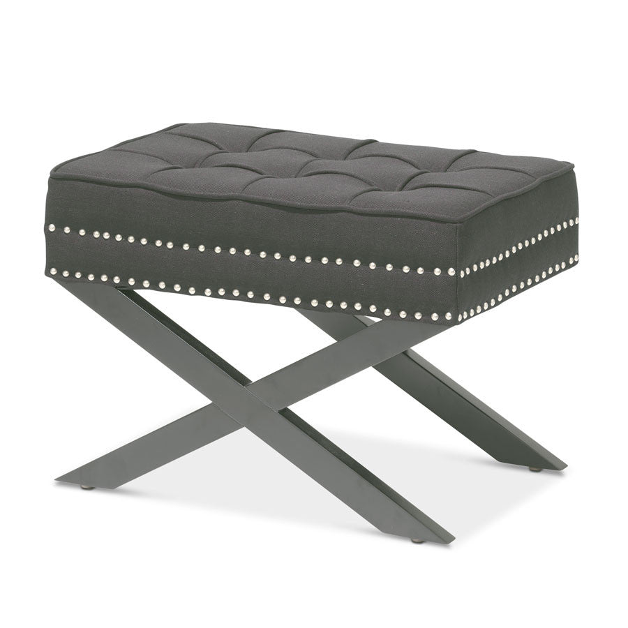 Brooke Ottoman Foot Stool Charcoal - Black Mango
