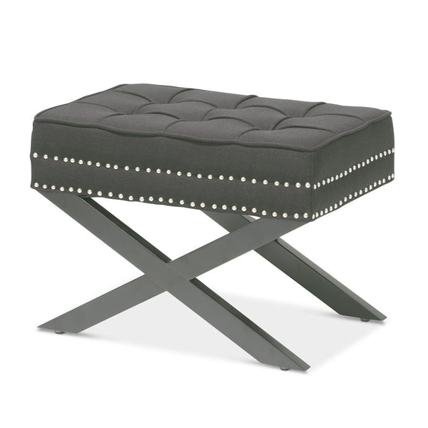Brooke Ottoman Stool Charcoal - Black Mango