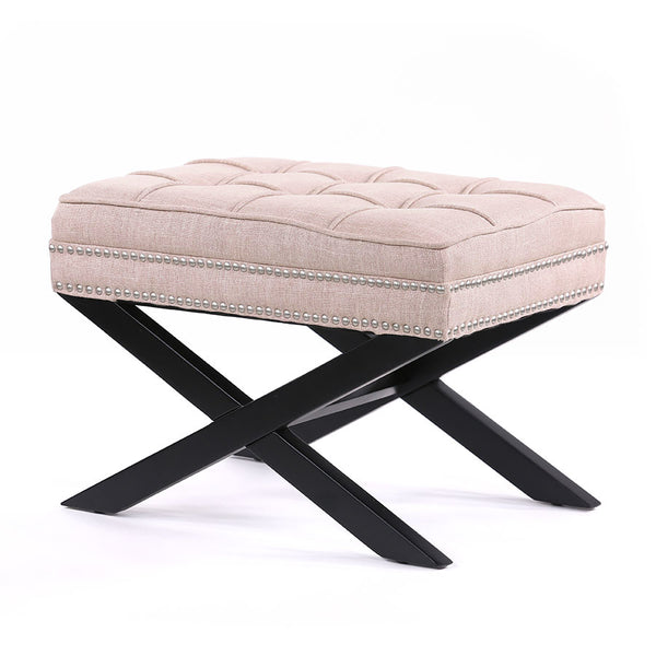 Brooke Ottoman Stool Dusty Pink - Black Mango