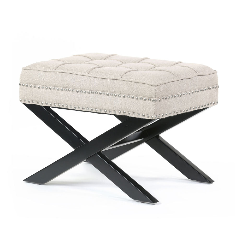 Brooke Ottoman Foot Stool Latte - Black Mango