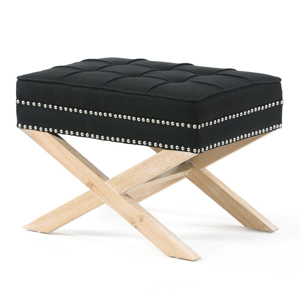 Brooke Ottoman Foot Stool Oak Legs Black - Black Mango