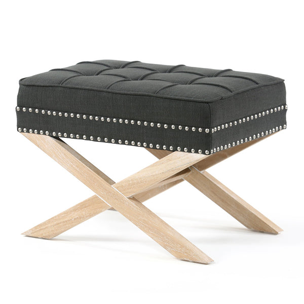 Brooke Ottoman Foot Stool Oak Legs Charcoal - Black Mango