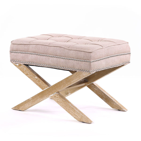 Brooke Ottoman Stool Oak Legs Dusty Pink - Black Mango