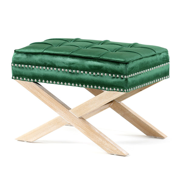 Brooke Ottoman Foot Stool Oak Legs Emerald - Black Mango