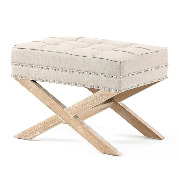 Brooke Ottoman Foot Stool Oak Legs Latte - Black Mango