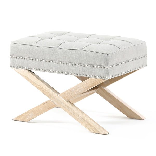 Brooke Ottoman Foot Stool Oak Legs Taupe - Black Mango