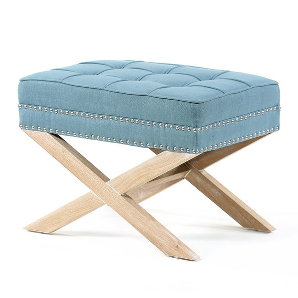 Brooke Ottoman Stool Oak Legs Teal - Black Mango
