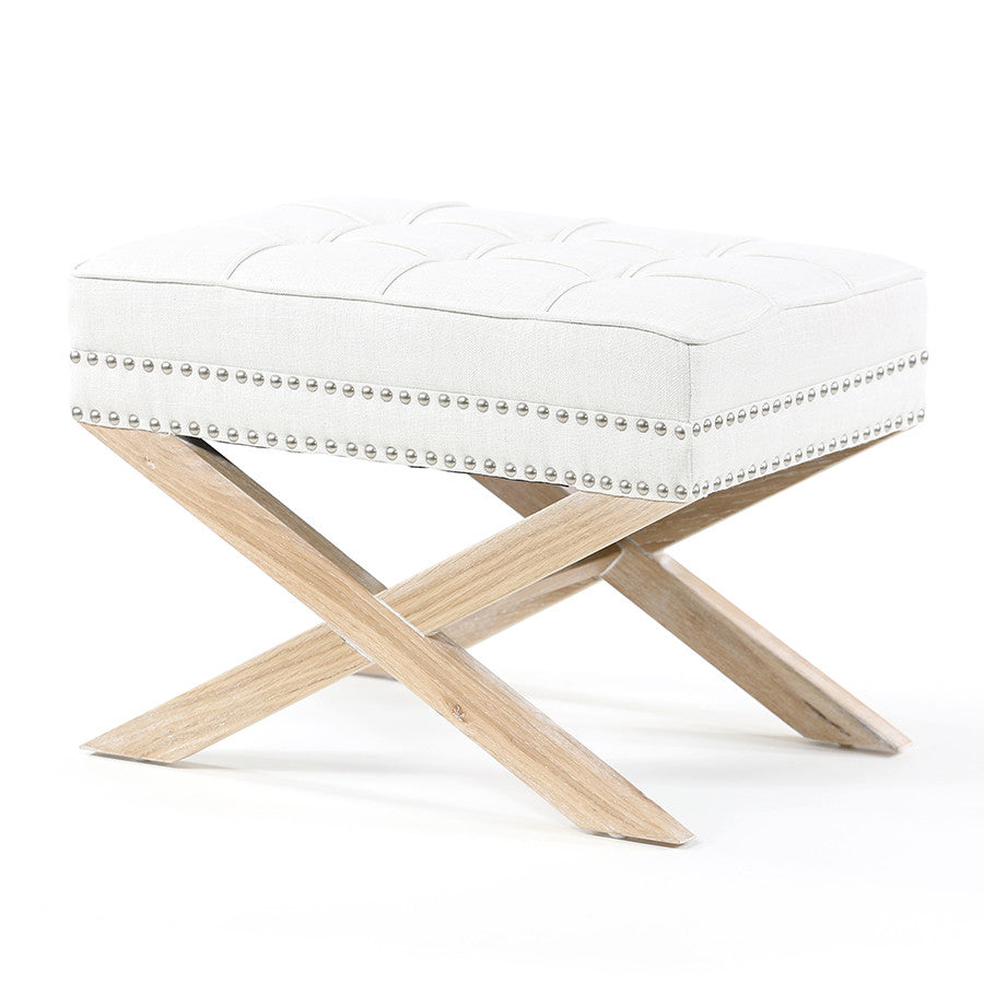 Brooke Ottoman Stool Oak Legs Linen White - Black Mango