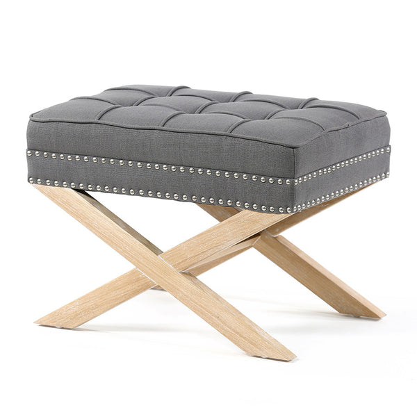 Brooke Ottoman Foot Stool Oak Legs Wolf Grey - Black Mango