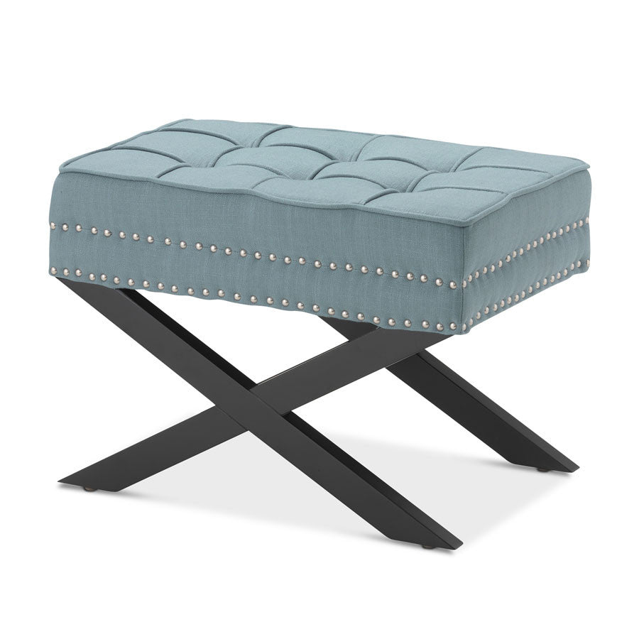Brooke Ottoman Foot Stool Teal - Black Mango