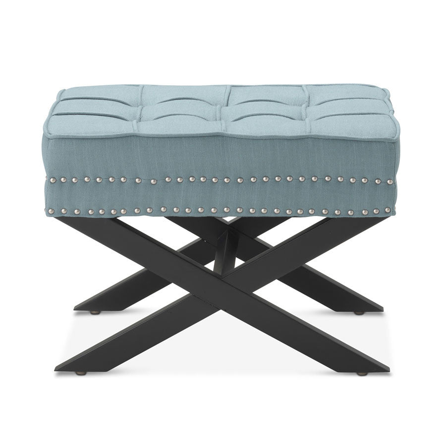 Brooke Ottoman Stool Teal Black Mango