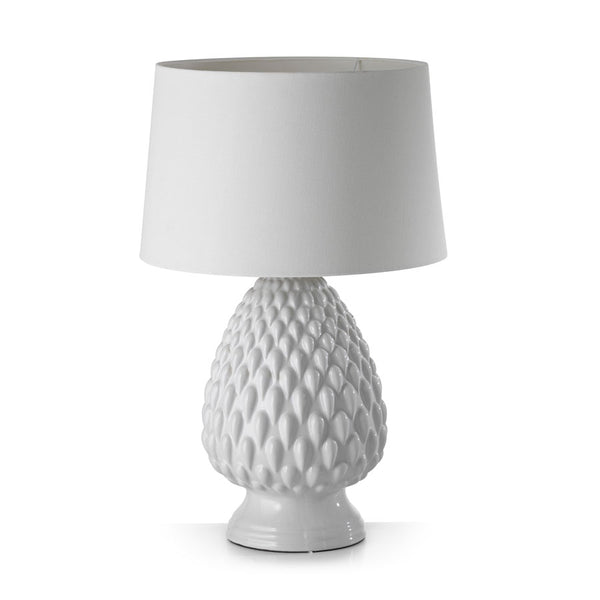 Ceramic Pineapple Table Lamp White - Black Mango